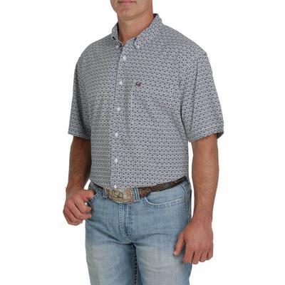 Cinch Men's ARENAFLEX Geometric Gray Button-Down