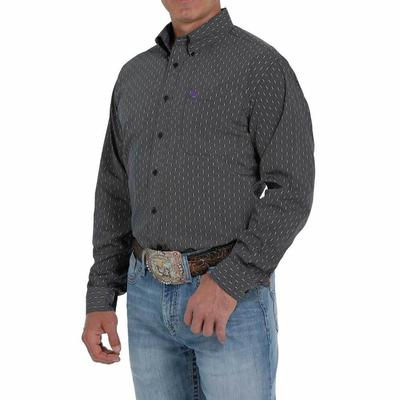 Cinch Men's Charcoal Printed Button- Down