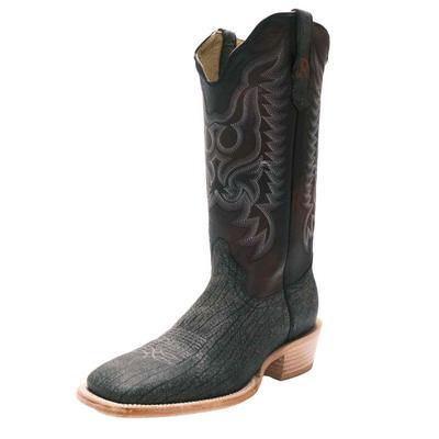 R. Watson Men's Black Cape Buffalo Western Boots