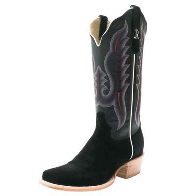 R. Watson Women's Black Roughout Western Boots
