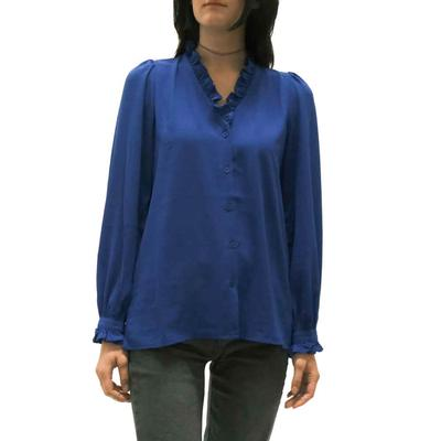 Jade Women's Ruffle Neck Royal Blue Top