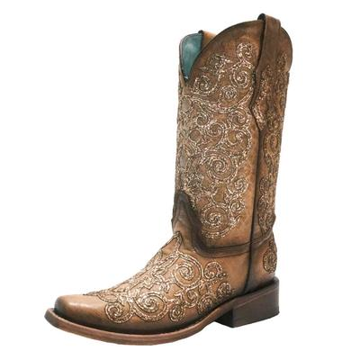 Corral Women's Saddle Sequin Embroidered Western Boots