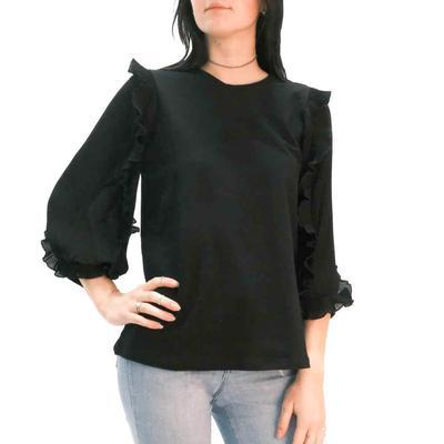 Joy Joy Women's Pleaty Sleeve Black Top