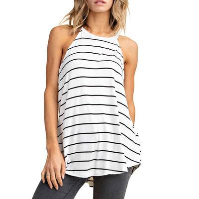Women's Jersey Knit Striped Halter Top