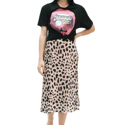 Women's Leopard Print Satin Skirt