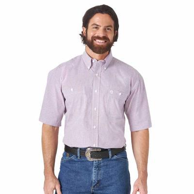 Wrangler Men's Short Sleeve Button Down in Red