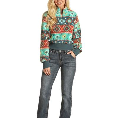 Rock&Roll Women's Turquoise Aztec Print Pullover