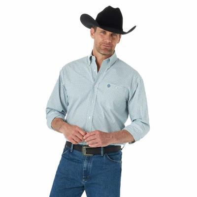 Wrangler Men's George Strait Turquoise Faded Plaid Button Down