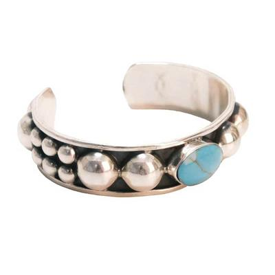 Women's Sterling Silver Large Turquoise Stone Cuff