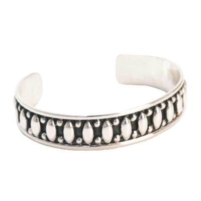 Sterling Silver Oval Bead Inlay Cuff