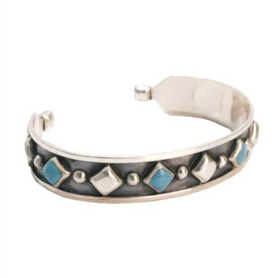 Sterling Silver Turquoise Diamond Inlay Cuff