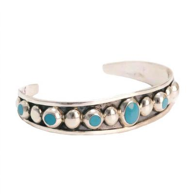 Sterling Silver Beaded Turquoise Inlay Cuff