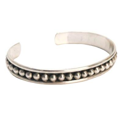 Sterling Silver Beaded Inlay Cuff
