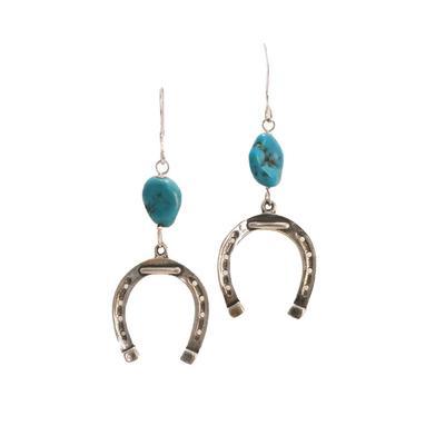 Turquoise Horseshoe Dangle Earrings