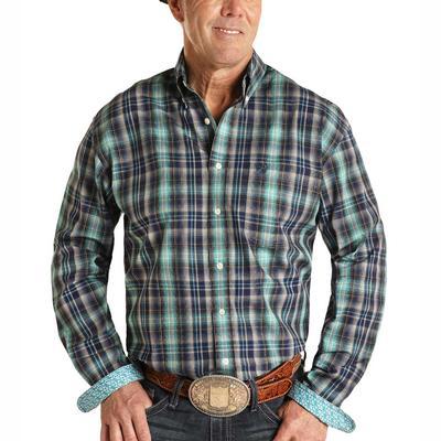 Panhandle Men's Turquoise Plaid Button Down