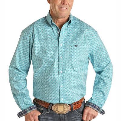 Panhandle Men's Turquoise Geometric Print Snap Shirt