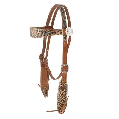 Exotic Print Headstall With Buckstich