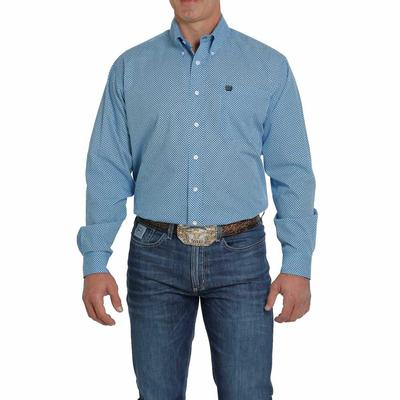 Cinch Men's Shades Of Blue Printed Button Down