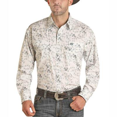 Panhandle Men's Neutral Floral Print Snap Shirt