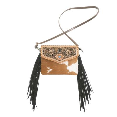 American Darling Tooled Turquoise Concho And Fringe Crossbody