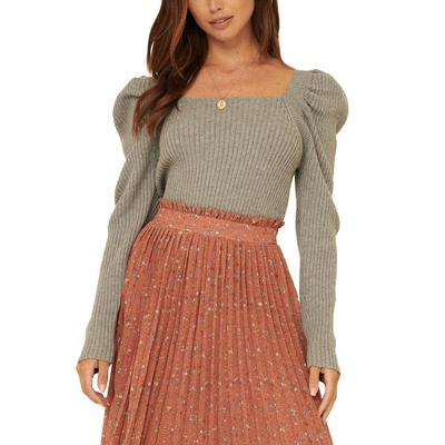 Women's Puff Sleeve Back Tie Sweater