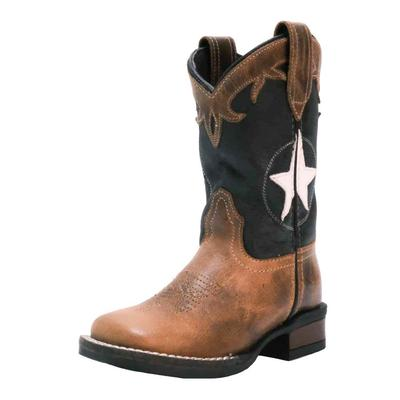 Roper Youth Oiled Leather Star Vamp Western Boots