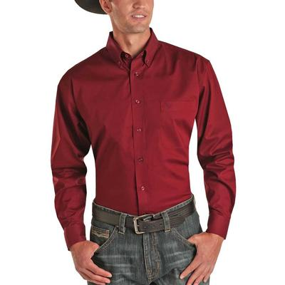 Panhandle Men's Solid Stretch Long Sleeve Button Down
