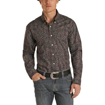 Panhandle Men's Chocolate Paisley Button Down