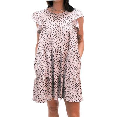 Women's Taupe Tiered Ruffle Dress