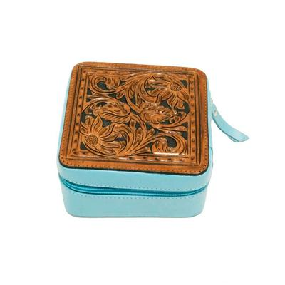 Tooled & Turquoise Leather Zippered Jewelry Box