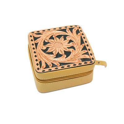 Tooled Buckstitch Leather Zippered Jewelry Box