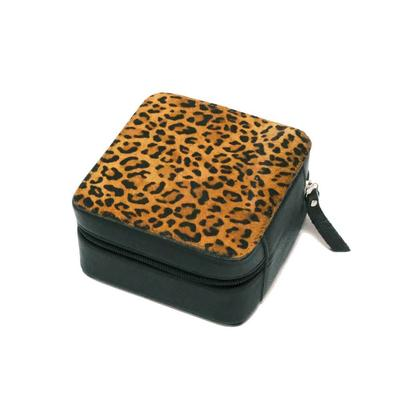 Hair-On Leopard & Leather Zippered Jewelry Box