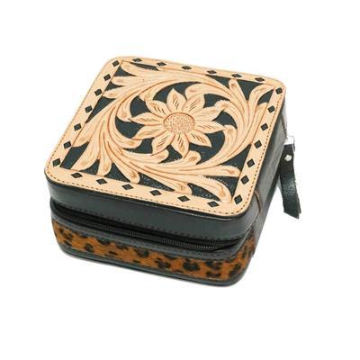 Buckstitch Leather & Leopard Stripe Jewelry Box
