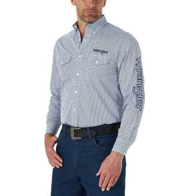 Wrangler Men's Long Sleeve Branded Button Down