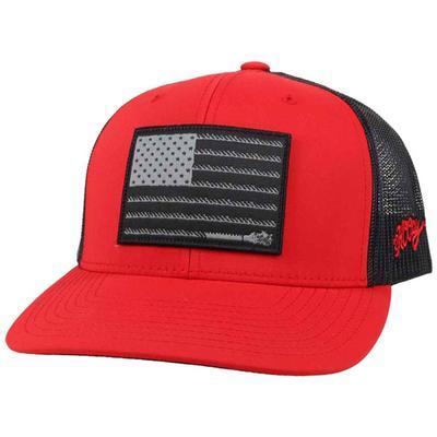 Hooey Men's Liberty Roper 6 Panel Red Trucker Cap