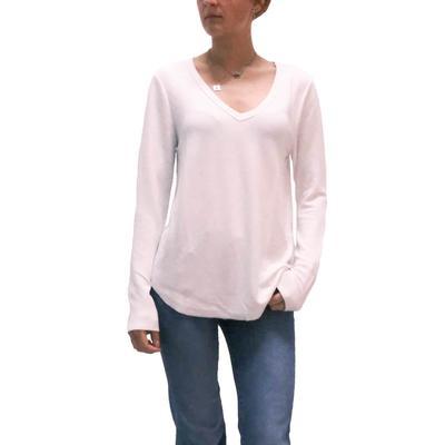 Dylan Women's White Ribbed Knit V-Neck Top