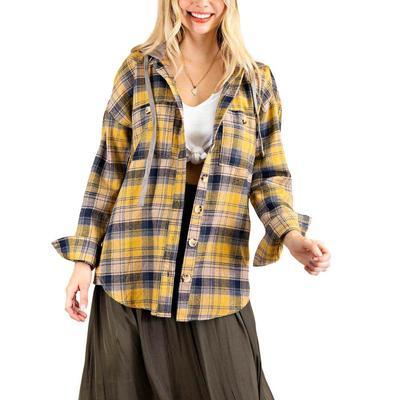 Kori Women's Soft Flannel Button Down Hoodie