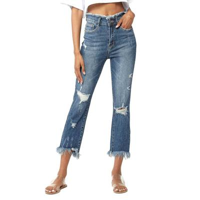 Women's Frayed High Rise Straight Leg Jeans