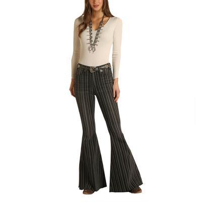 Rock&Roll Women's Striped Bell Bottom Flare Jeans