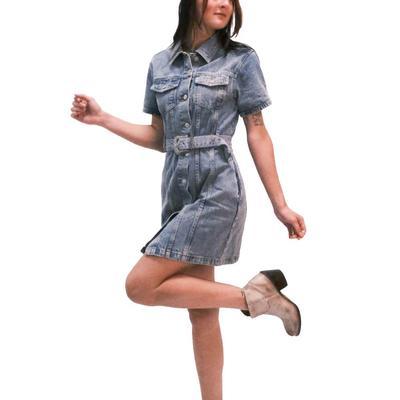 Women's Belted Denim Button Down Dress