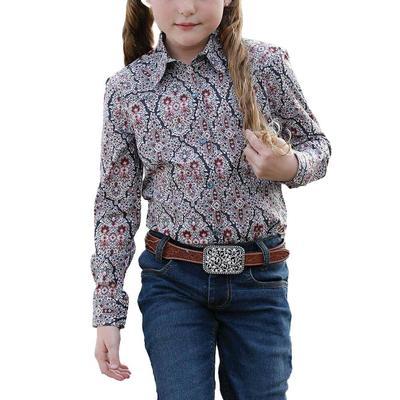 Cruel Girl's Navy Western Print Snap Shirt