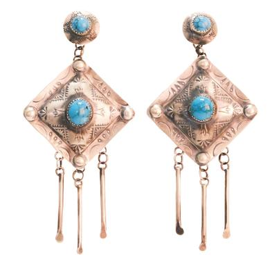 Women's Sterling Silver Turquoise Statement Earrings