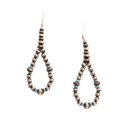 Women's Sterling Silver Turquoise and Pearl Dangle Earrings