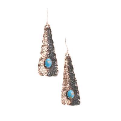 Sterling Silver Turquoise Stone on Arrowhead Earrings