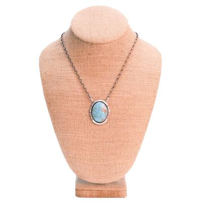 Women's Sterling Silver Turquoise Pendant Necklace