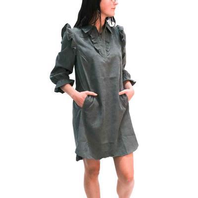 Joy Joy Women's Olive Corduroy Shirt Dress