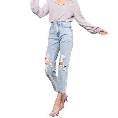 Women's High Rise Light Wash Girlfriend Jeans