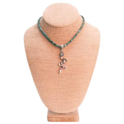 Turquoise Heshi and Snake Inlay Pedant Necklace