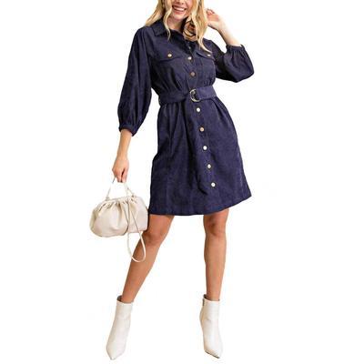 Kori Women's Corduroy Button Down Dress