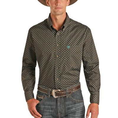Panhandle Men's Geometric Olive-Brown Button Down